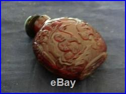 Very Fine Antique Chinese Carved Amber Snuff Bottle Boy With Dragon & Monkey