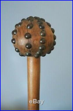 Very Fine Antique South African Tribal Art Carved Wooden Studded Knobkerrie Club