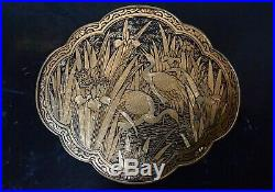 Very Fine Carved Gold Decorated Komai Buckle Nunome Zogan Decoration