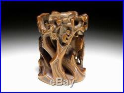Very Fine Carving Boxwood NETSUKE Forest Japanese Original Edo Inro Antique