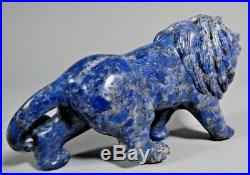 Very Fine China Chinese Carved Lapiz Lazuli Figure of a Lion ca. 20th century