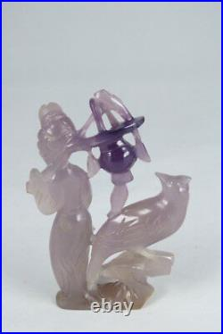 Very Fine Chinese Carved Lavender Jade Figure, Circa 1900