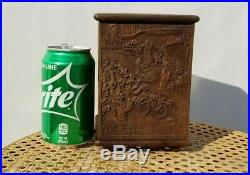 Very Fine Chinese Carved Zitan Wood & Bamboo Brush Pot Bitong Old Vintage