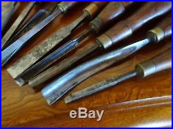 Very Fine Group Of Antique English Carving Chisels Some Well Used And 1 Barton