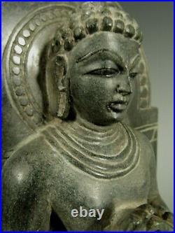 Very Fine India Indian Carved Stone Seated Jain Buddha Figure ca. 20th century