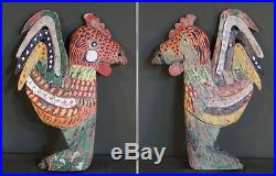 Very Fine Large Old Antique Korean Buddha Temple Home Wood Deco Rooster Carving