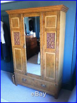 Very Fine Maple & Co. Victorian Light Oak Double Wardrobe with carved panels