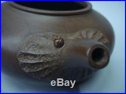 Very Fine Old Chinese YiXing Zisha Pottery Hand Carving Clay Teapot Marks