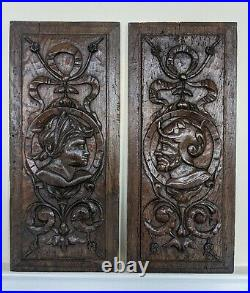 Very Fine Pair Of Early 16th Century Carved Oak Marriage Panels c1530