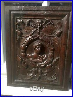 Very Fine Pair Of Early 16th Century Carved Oak Tudor Marriage Panels c1530
