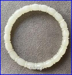 Very Fine Qing Dynasty Carved White Nephrite Jade Bangle Bracelet