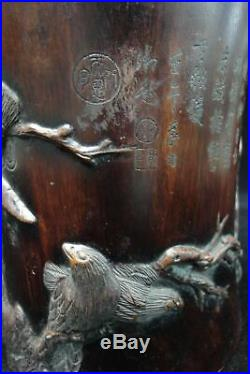 Very Fine Thick Old Chinese Hand Carving Birds Solid Rosewood Brush Pot Mark