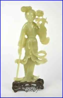 Very fine Antique chinese Jade statue of Quan yin 12 tall on carved wood stand