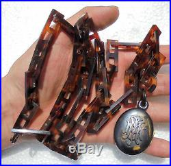 Very fine antique Victorian locket carved necklace