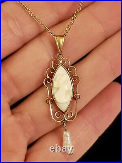 Victorian 10K Yellow Gold Carved Angel Skin Coral & Pearl Lavaliere Necklace