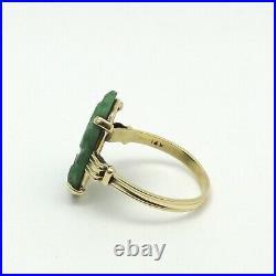 Victorian 14K Gold Carved Green Jade Jadeite Ring sz7