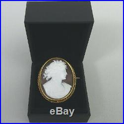 Victorian Antique 15 Ct Gold Finely Carved Shell Cameo Brooch C. 1880-7.8 Grams