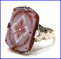 Victorian Carved Hardstone Ladies Ring 14k Yellow Gold 14 k Size 5.5