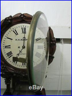 Victorian Twin Chain Fusee Drop Dial Wall Clock, Fine Carved Solid Mahogany Case