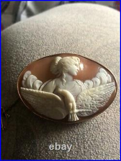 Victorian gold set carved cameo brooch c1880 Goddess Hebe & Eagle
