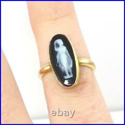 Vintage Antique Carved Black Onyx Silhouette 14K Yellow Gold Ring SZ 4 LHJ2