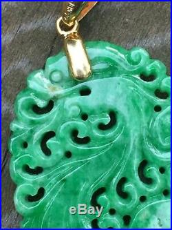Vintage Antique Chinese Finely Carved Green Jade Diamond 18k Pendant Estate