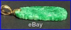 Vintage Antique Chinese Finely Carved Green Jade Diamond 18k Pendant Estate