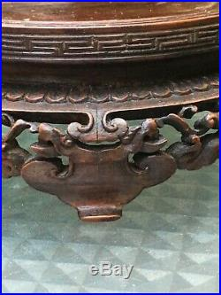 Vintage Antique Chinese Finely Carved Wood Vase Bowl Stand