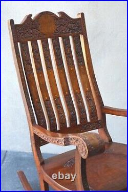 Vintage Asian Rocking Chair Intricate Fine Inlay Carved Wood Delivery Avail