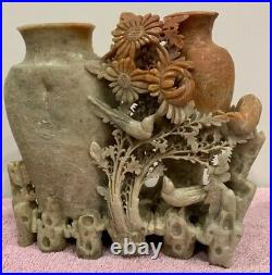 Vintage Chinese Soapstone Finely Hand-carved Floral Vase, About 7.5 X7.5