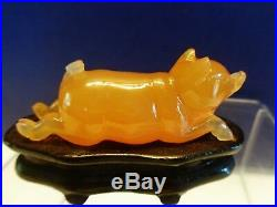 Vintage Chinese Yunnan Nanhong carnelian agate fine carved a running pig