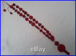 Vintage Chinese finely carved cinnabar necklace