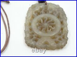 Vintage Large Chinese Export Fine Deep Carved Jade Pendant On Silk Cord