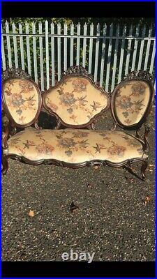 Vintage Victorian Fine Carved 3 Seater Sofa
