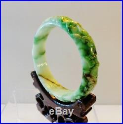 Vintage large Chinese creamy and dragon green jadeite bracelet fine carved lotus