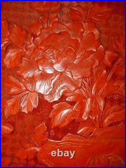 XTRA LARGE CHINESE CINNABAR LACQUER BOX FINELY CARVED FLORAL 12 x 9 10/16 × 3