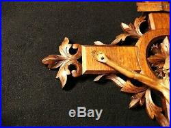XXL ANTIQUE BLACK FOREST 1790s FINE CARVED WOOD WALL LARGE CRUCIFIX CROSS CORPUS