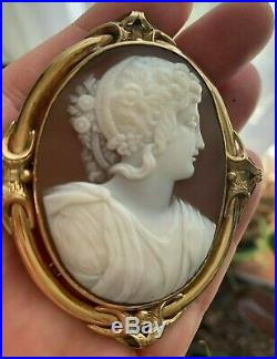 XX-tra Fine Large Antique Carved Shell Cameo Brooch of Flora in 14k Gold Frame