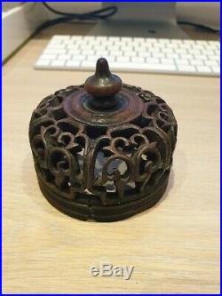 (b) Finely Carved Chinese Qing Period Scholars Wood Wooden LID Vase Cover